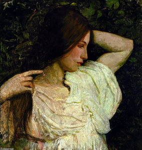 Abbott Handerson Thayer - fille `arranging` elle cheveux