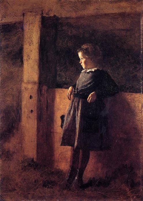 girl in grange ( aussi connu as Sarah Pouvoir ), 1877 de Jonathan Eastman Johnson (1824-1906, United Kingdom) | WahooArt.com