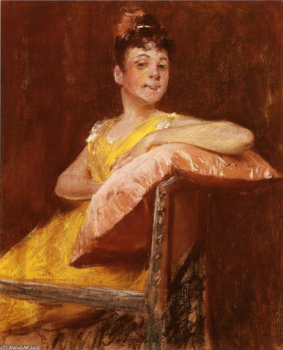 A Girl in Yellow (aussi connu comme la robe jaune), 1900 de William Merritt Chase (1849-1916, United States) | Reproductions D'art William Merritt Chase | WahooArt.com