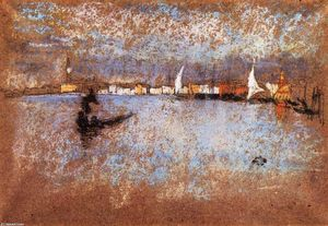 James Abbott Mcneill Whistler - Le Guidecca -   hiver  gris  et  bleue