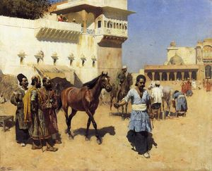 Edwin Lord Weeks - Marché aux chevaux persan  écuries  Bombay image