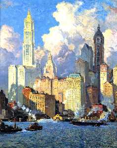 Colin Campbell Cooper - Hudson River Waterfront