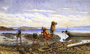 William George Richardson Hind - Indiens Rassemblement des mollusques, l île Victoria