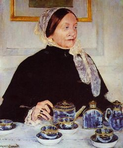 Mary Stevenson Cassatt - dame à l' thé table - (reproduction de peintures célèbres)