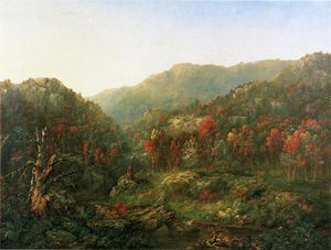 William Mason Brown - Paysage avec deux Indiens