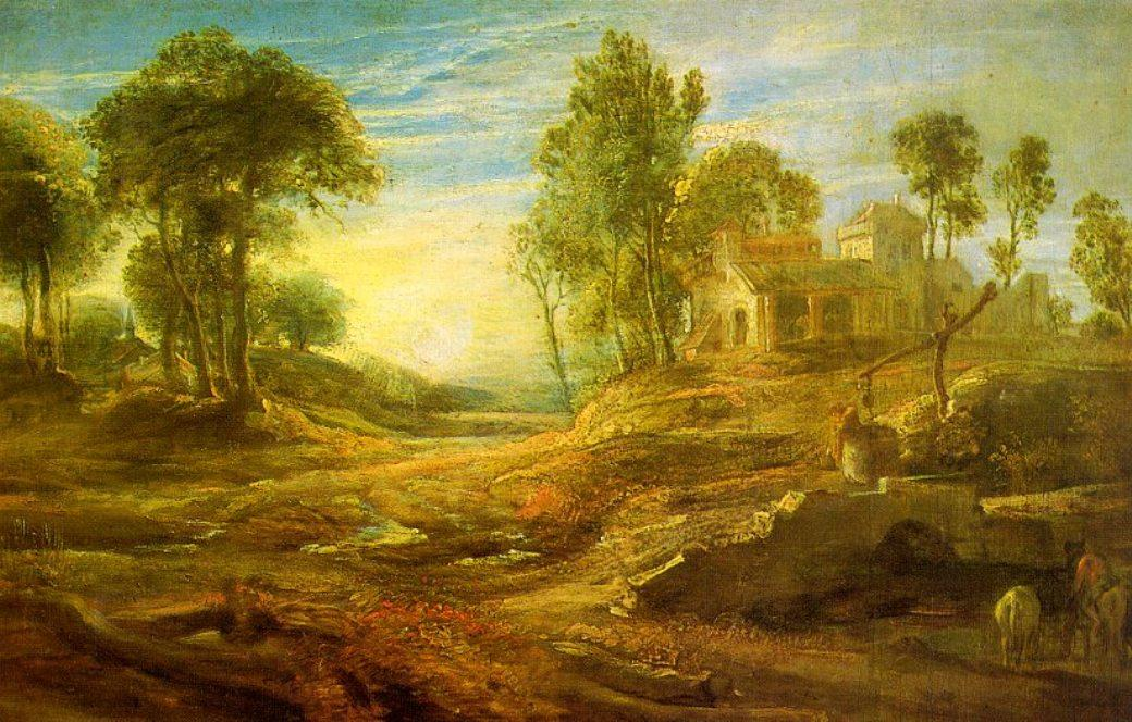 paysage avec un `watering` lieu de Peter Paul Rubens (1577-1640, Germany) | Reproductions De Peintures Peter Paul Rubens | WahooArt.com