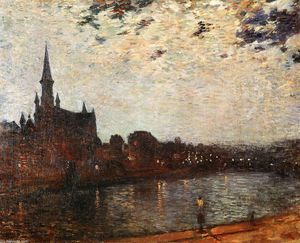 Theo Van Rysselberghe - L Eglise Sainte-Croix à Ixelles at Night