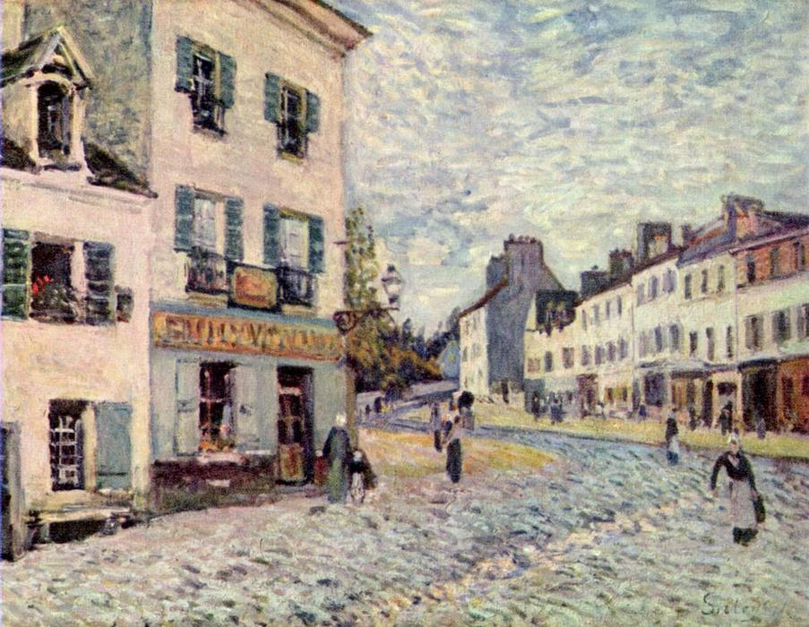 Street à Marly, huile sur toile de Alfred Sisley (1839-1899, France)
