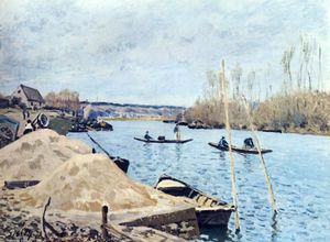 Alfred Sisley - Le Seine at Port Marly sand piles