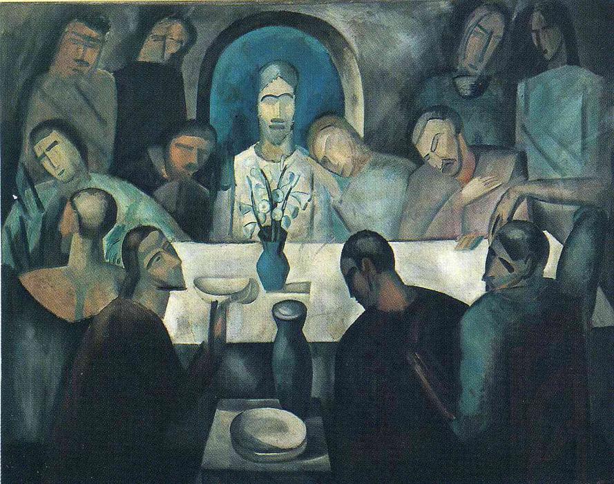 Le dernier souper de j sus huile sur toile de andr for Andre caplet le miroir de jesus