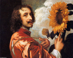 Anthony Van Dyck -  auto portrait avec a tournesol