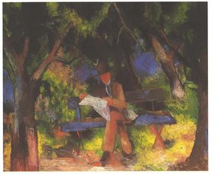 August Macke - lecture homme parc