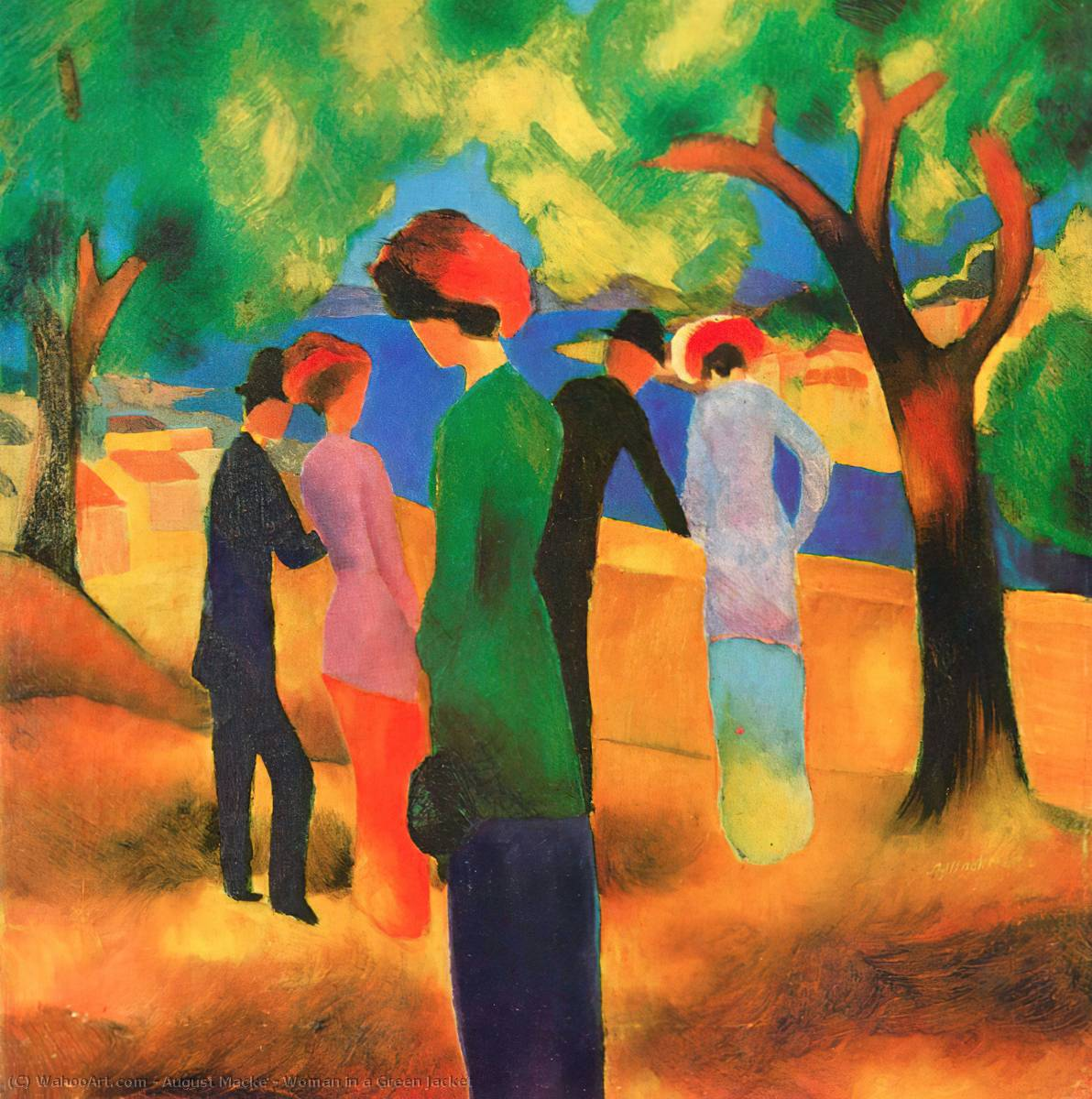 femme, vert, veste, 1913 de August Macke (1887-1914, Germany) | Reproductions De Peintures August Macke | WahooArt.com