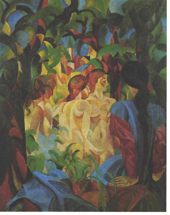 Baignade filles avec la ville dans le backgraund, 1913 de August Macke (1887-1914, Germany)