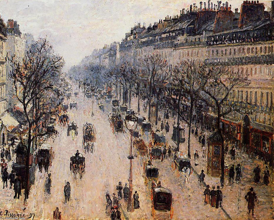 boulevard montmartre matin d hiver huile sur toile de camille pissarro 1830 1903 united states. Black Bedroom Furniture Sets. Home Design Ideas