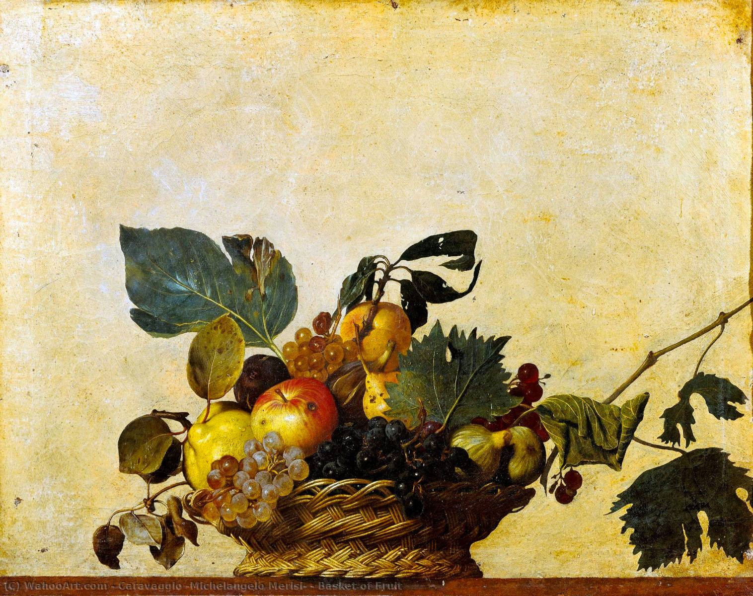 corbeille de fruits, 1596 de Caravaggio (Michelangelo Merisi) (1571-1610, Spain) | Reproductions D'art Sur Toile | WahooArt.com