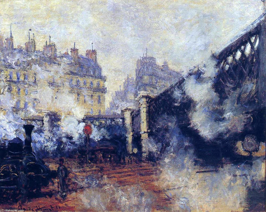 le pont de l`Europe , Gare Saint-Lazare, 1877 de Claude Monet (1840-1926, France) | Reproductions De Qualité Musée Claude Monet | WahooArt.com