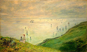 Claude Monet - Cliffs marcher à Pourville