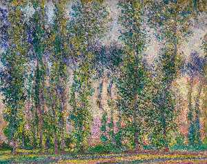 Claude Monet - Peupliers à Giverny - (reproduction de peintures célèbres)