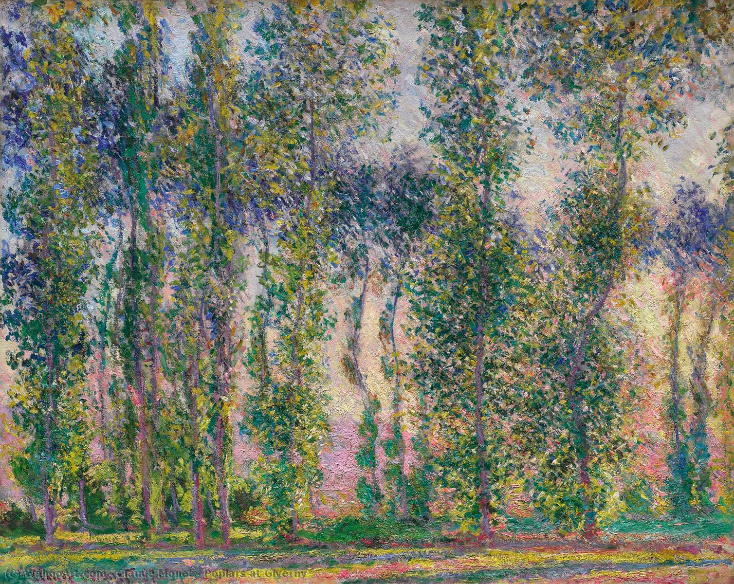 Peupliers à Giverny, 1887 de Claude Monet (1840-1926, France) | Reproduction Peinture | WahooArt.com
