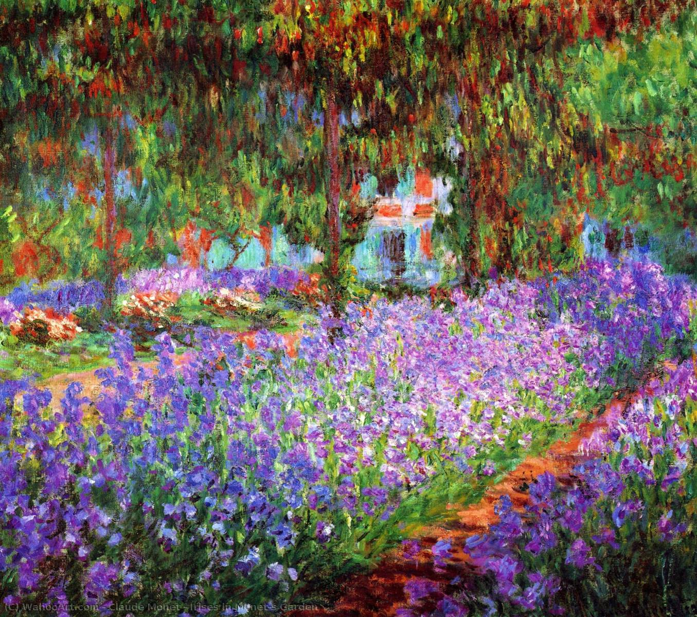 iris dans monet jardin, 1900 de Claude Monet (1840-1926, France) | Reproductions D'art Claude Monet | WahooArt.com