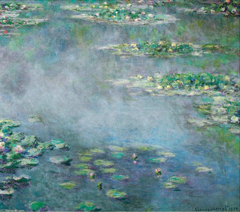 nénuphars 18, 1906 de Claude Monet (1840-1926, France) | Reproductions D'art Claude Monet | WahooArt.com