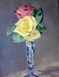 Edouard Manet - roses une  champenois  Verre