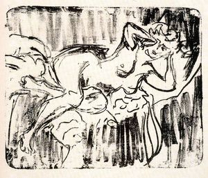 Ernst Ludwig Kirchner - inclinable nu féminin