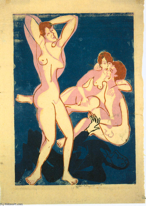 trois nus et inclinable homme, 1934 de Ernst Ludwig Kirchner (1880-1938, Germany)