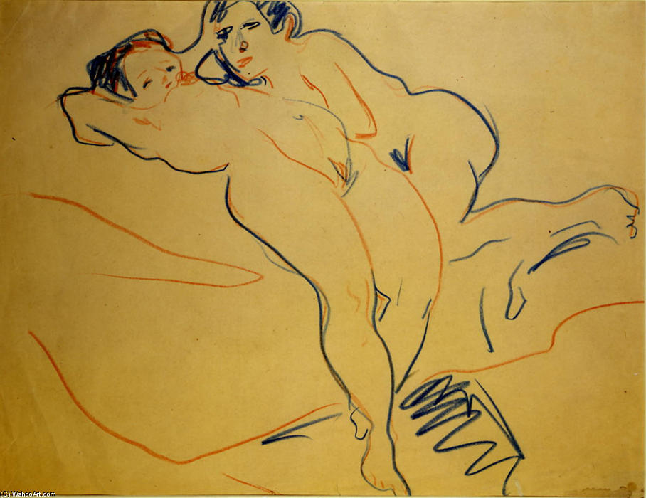 Acheter Reproduction Peinture couples, 1908 de Ernst Ludwig Kirchner (1880-1938, Germany) | WahooArt.com | Achat Copie Tableau couples, 1908 de Ernst Ludwig Kirchner (1880-1938, Germany) | WahooArt.com