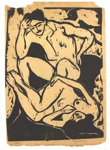 Ernst Ludwig Kirchner - Couple nacked sur un canapé