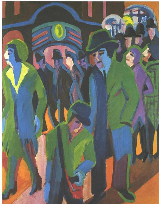 Rue avec Passagers de Ernst Ludwig Kirchner (1880-1938, Germany)