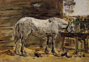 Eugène Louis Boudin - a cheval potable