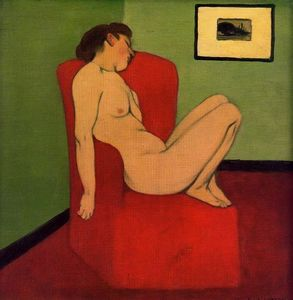 Felix Vallotton - assis nu féminin