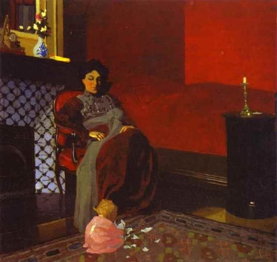 Félix Vallotton  Felix-Vallotton-Interior-Red-Room-with-Woman-and-Child