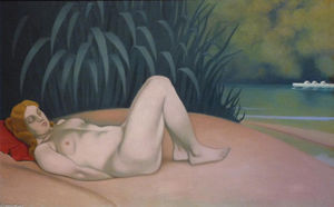 Felix Vallotton - Nue woman sleeping at le edge of le eau