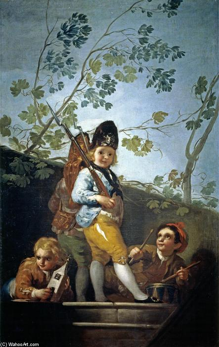 garçons jeu soldats, 1779 de Francisco De Goya (1746-1828, Spain) | Reproductions D'art Francisco De Goya | WahooArt.com