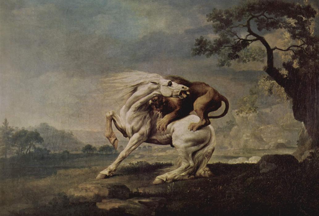 lion attaquant un cheval huile sur toile de george stubbs 1724 1806 united kingdom. Black Bedroom Furniture Sets. Home Design Ideas