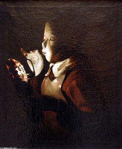 Georges De La Tour - garçon `blowing` à lampe