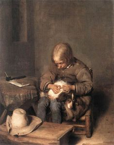 Gerard Ter Borch - Le Flea-Catcher ( boy avec son chien )