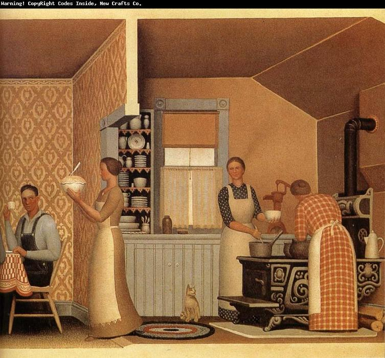 Dîner pour Threshers, 1934 de Grant Wood (1891-1942, United States)