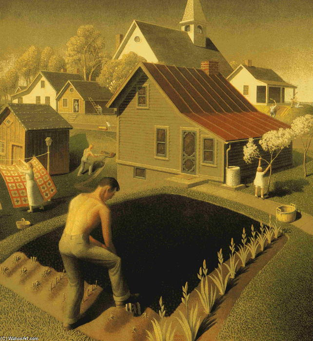 printemps dans ville, 1941 de Grant Wood (1891-1942, United States)
