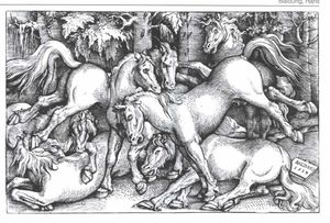 Hans Baldung - groupe d' sept sauvage chevaux