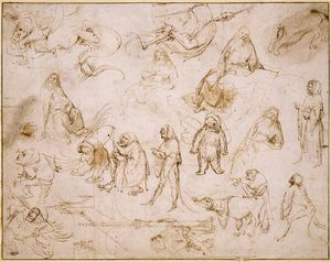 Hieronymus Bosch - Croquis for a Temptation of St .  Anthony