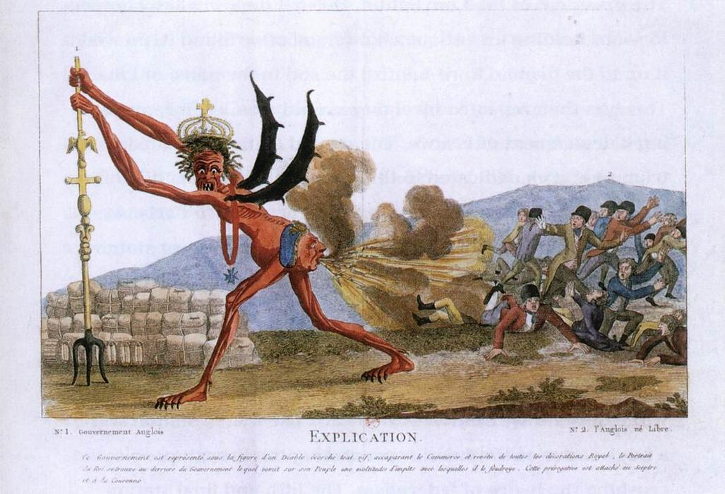 Caricature du gouvernement anglais, eauforte de Jacques Louis David (1748-1800, France)