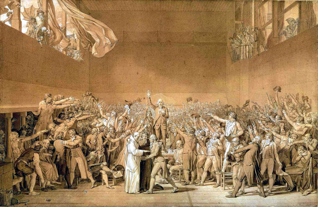 Le Serment du Jeu de paume, le 20 Juin 1789, 1791 de Jacques Louis David (1748-1800, France) | Copie Tableau | WahooArt.com
