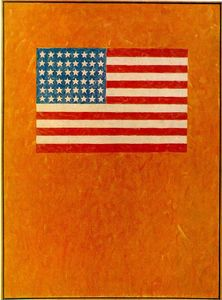Jasper Johns - drapeau sur orange terrain