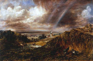 John Constable - Hampstead Heath avec un arc-en-