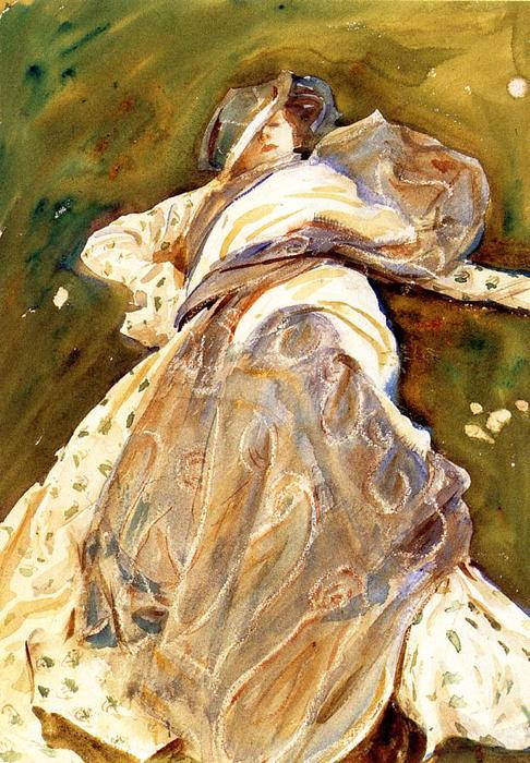 femme inclinable, 1908 de John Singer Sargent (1856-1925, Italy) | Reproductions D'art John Singer Sargent | WahooArt.com