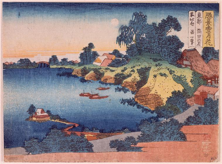 Moonlight over the Sumida River in Edo de Katsushika Hokusai (1760-1849, Japan) | Reproductions D'art Sur Toile | WahooArt.com